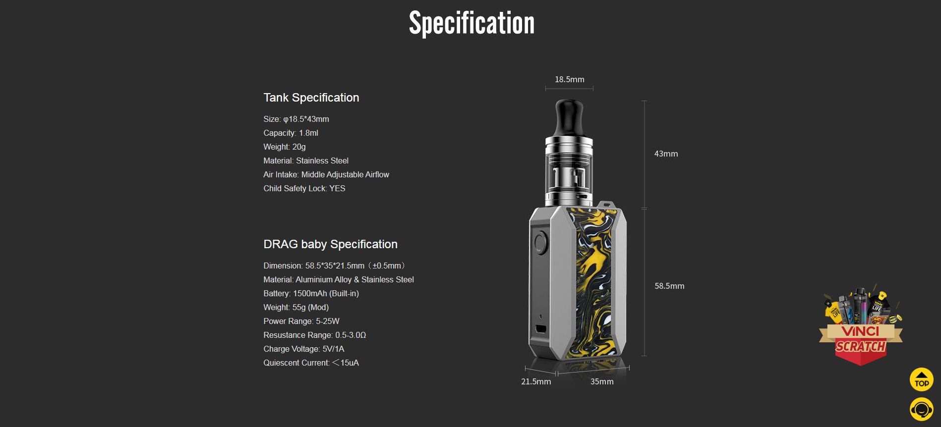 DRAG SPECIFICATIONS