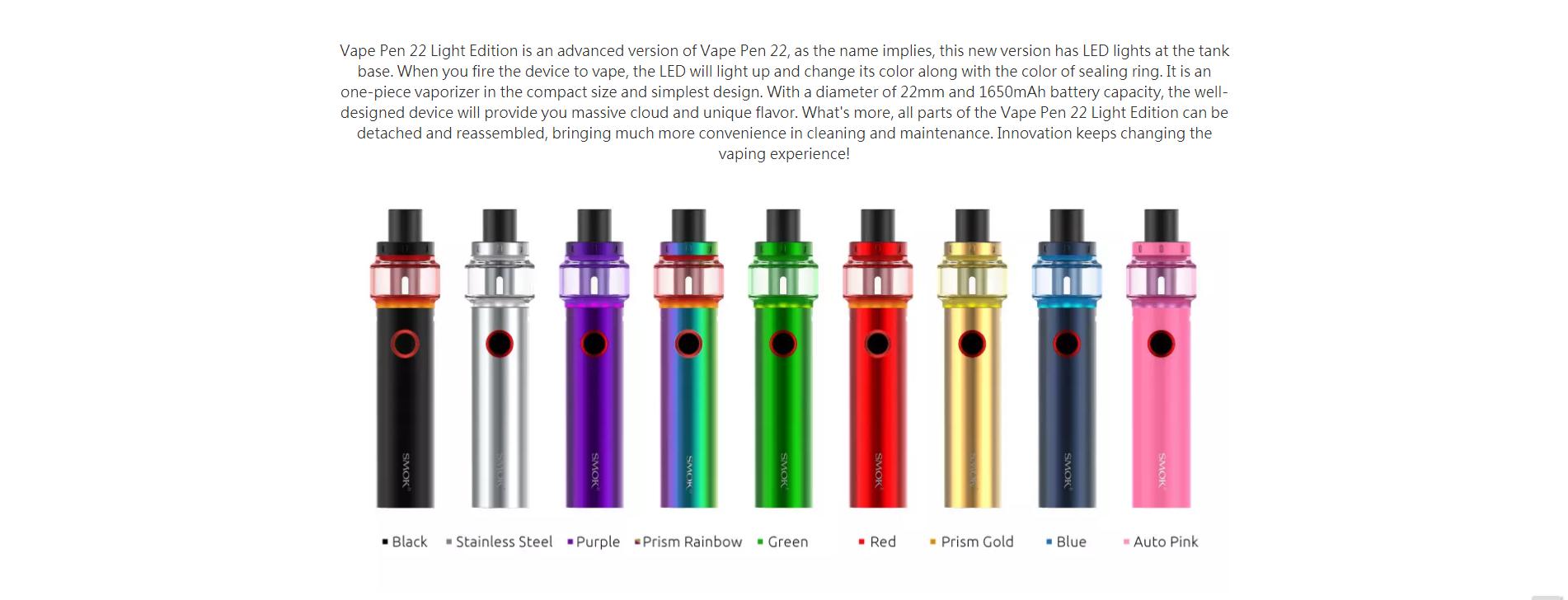 Vape Pen 22 Light Edition is an advanced version
